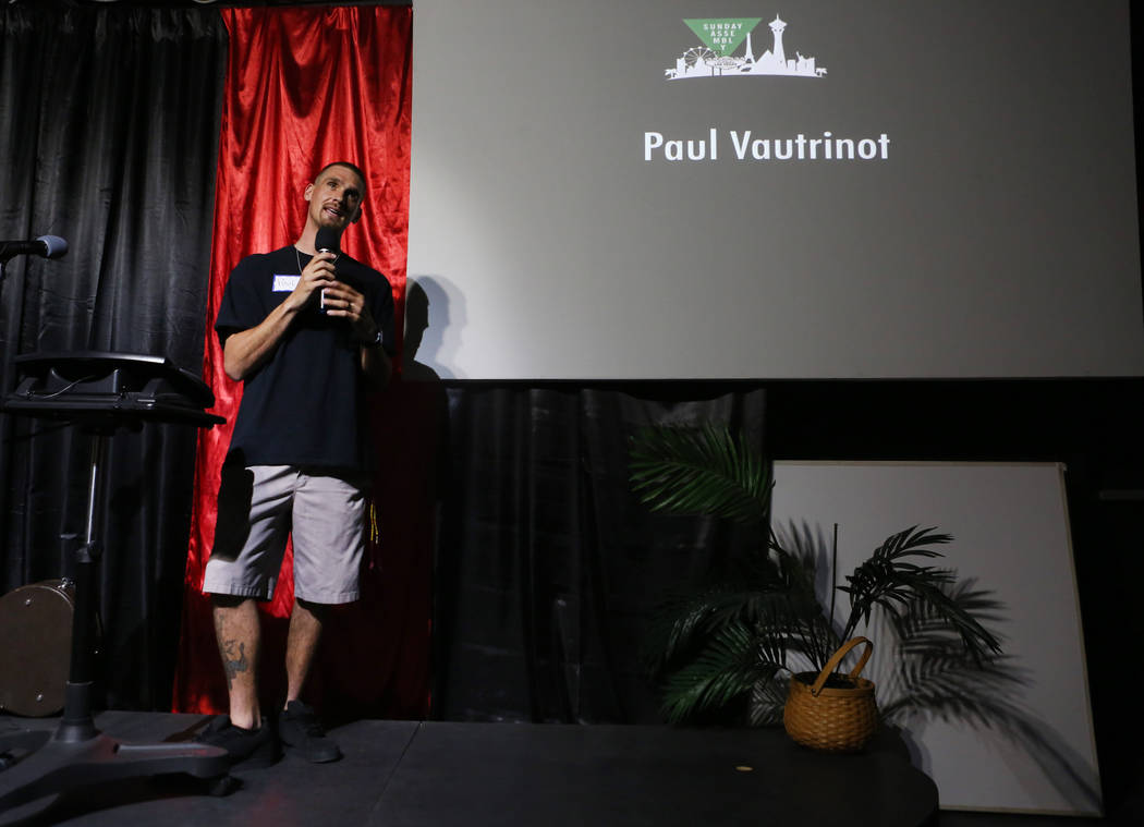 Program case manager for Freedom House Paul Vautrinot shares his story during a local gathering of Sunday Assembly  at the Center for Science and Wonder in Las Vegas, June 4, 2017.  Elizabeth Brum ...