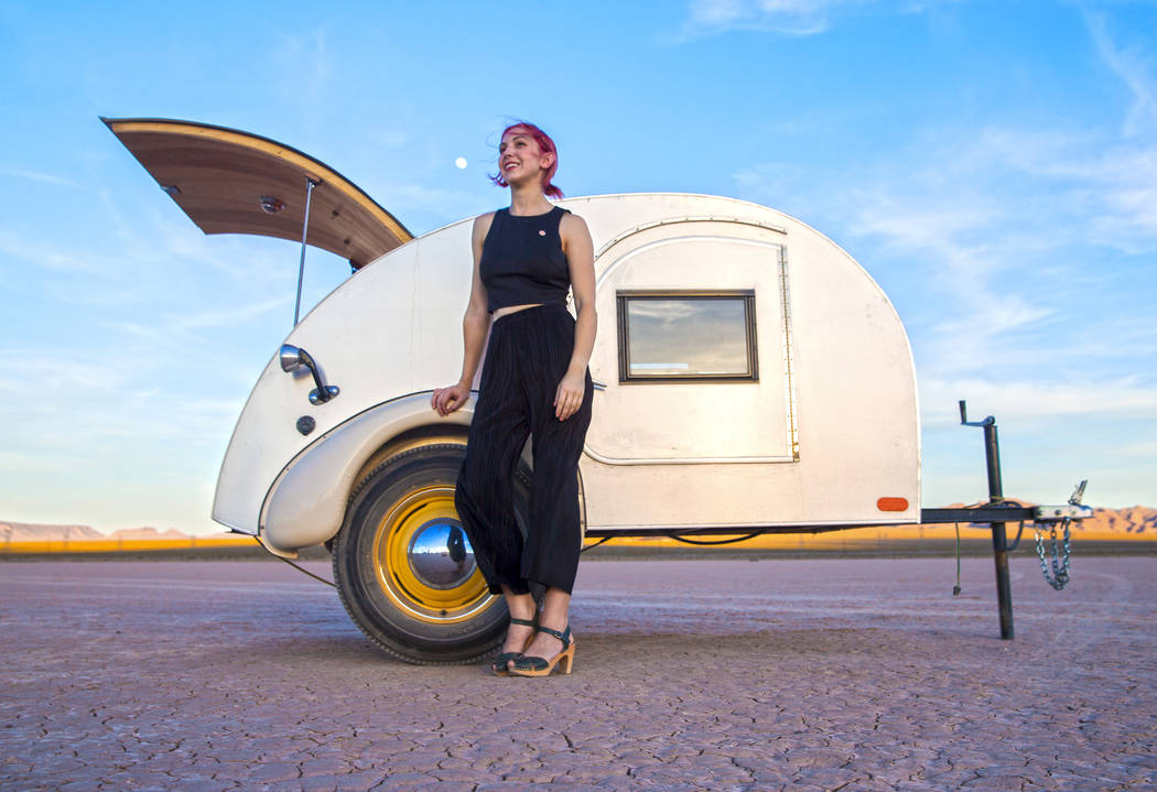 Victoria Hogan is the founder of Flora Pop, offering popup weddings with unique locations and themes throughout the South West. Photo taken on Tuesday, June 6, 2017, at El Dorado Dry Lake Bed, out ...