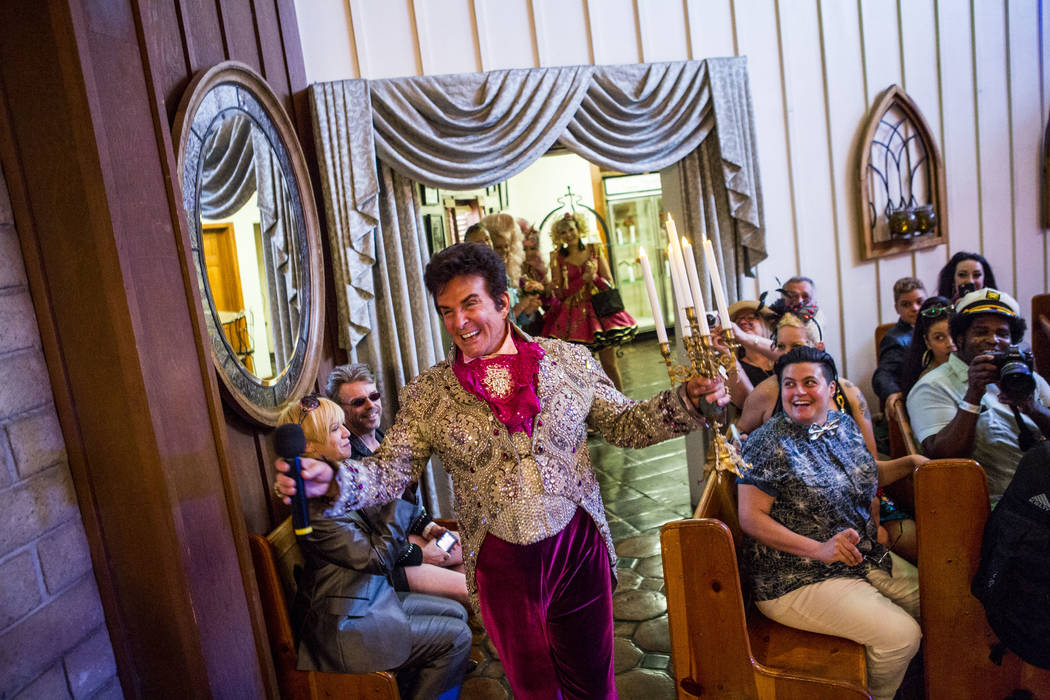 Liberace makes his first appearance at the wedding of Andrea Cambridge and Chuck Varga at the Viva Las Vegas Wedding Chapel on Saturday, June 3, 2017.  Patrick Connolly Las Vegas Review-Journal @P ...