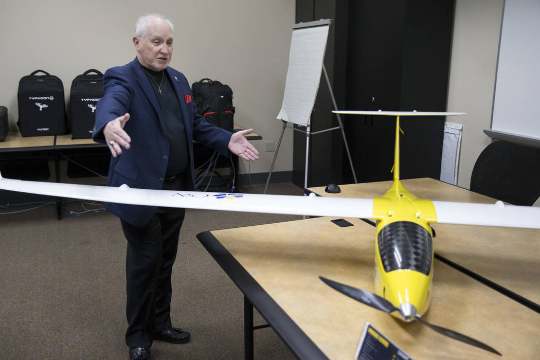 Art Eggers, engineering technology professor, at the College of Southern Nevada, talks about Nevadaճ first academic program focused on unmanned aircraft systems that he will lead at the coll ...
