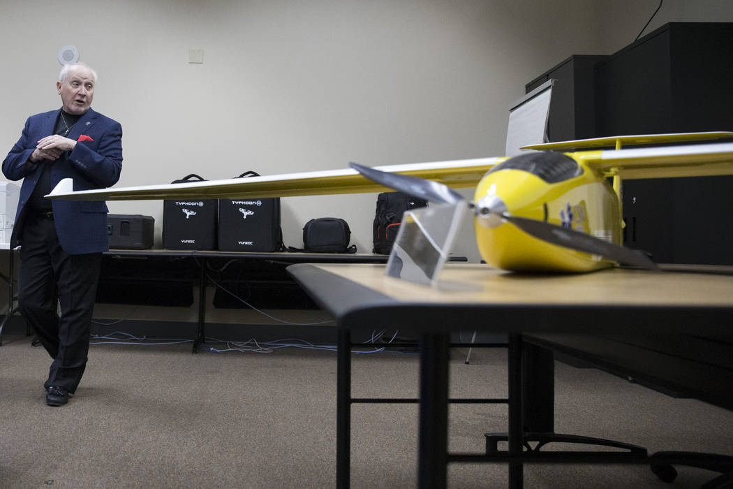 Art Eggers, engineering technology professor, at the College of Southern Nevada, talks about Nevada's first academic program focused on unmanned aircraft systems that he will lead at the co ...