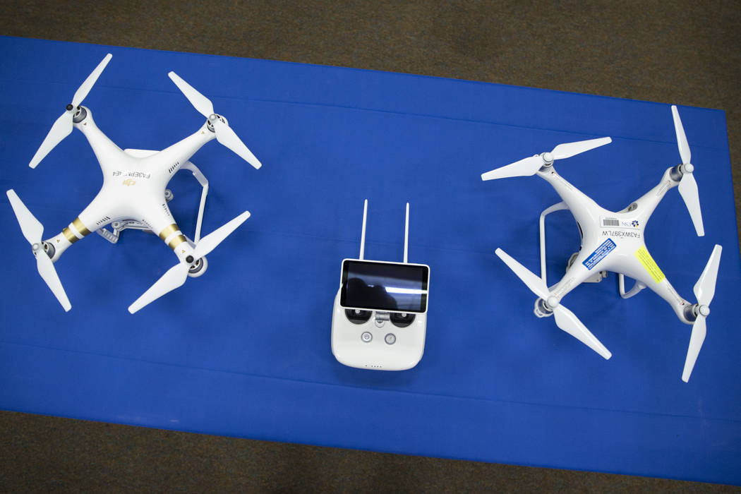Drones inside a classroom which will teach Nevada's first academic program focused on unmanned aircraft systems at the College of Southern Nevada, Cheyenne Campus on Tuesday, June 6, 2017 i ...
