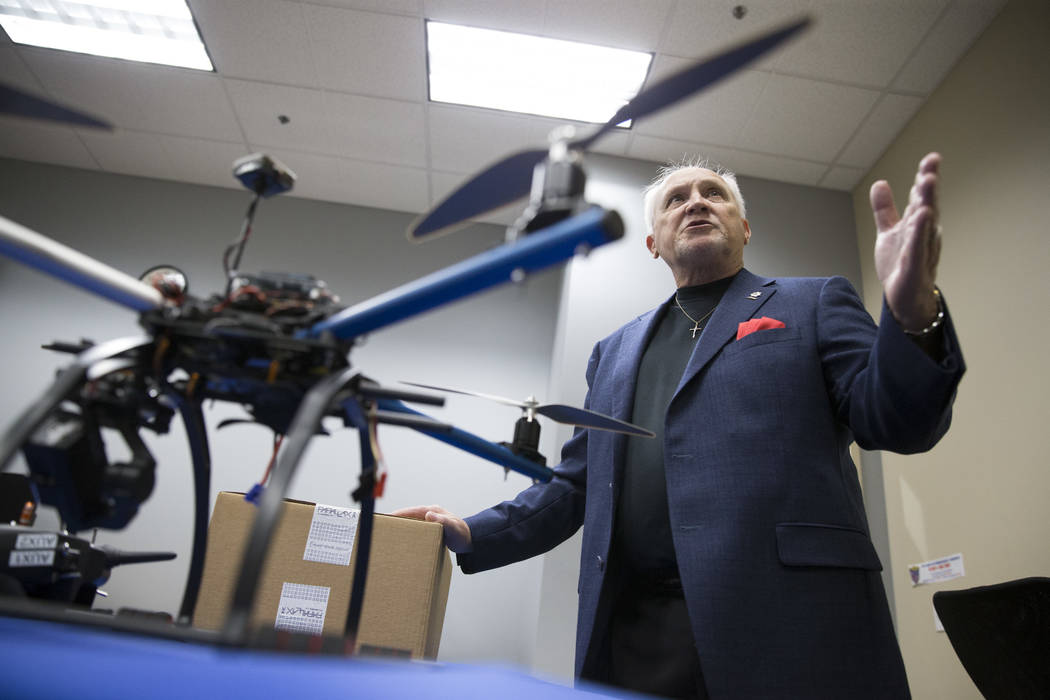 Art Eggers, engineering technology professor,  at the College of Southern Nevada, talks about Nevadaճ first academic program focused on unmanned aircraft systems that he will lead at the col ...