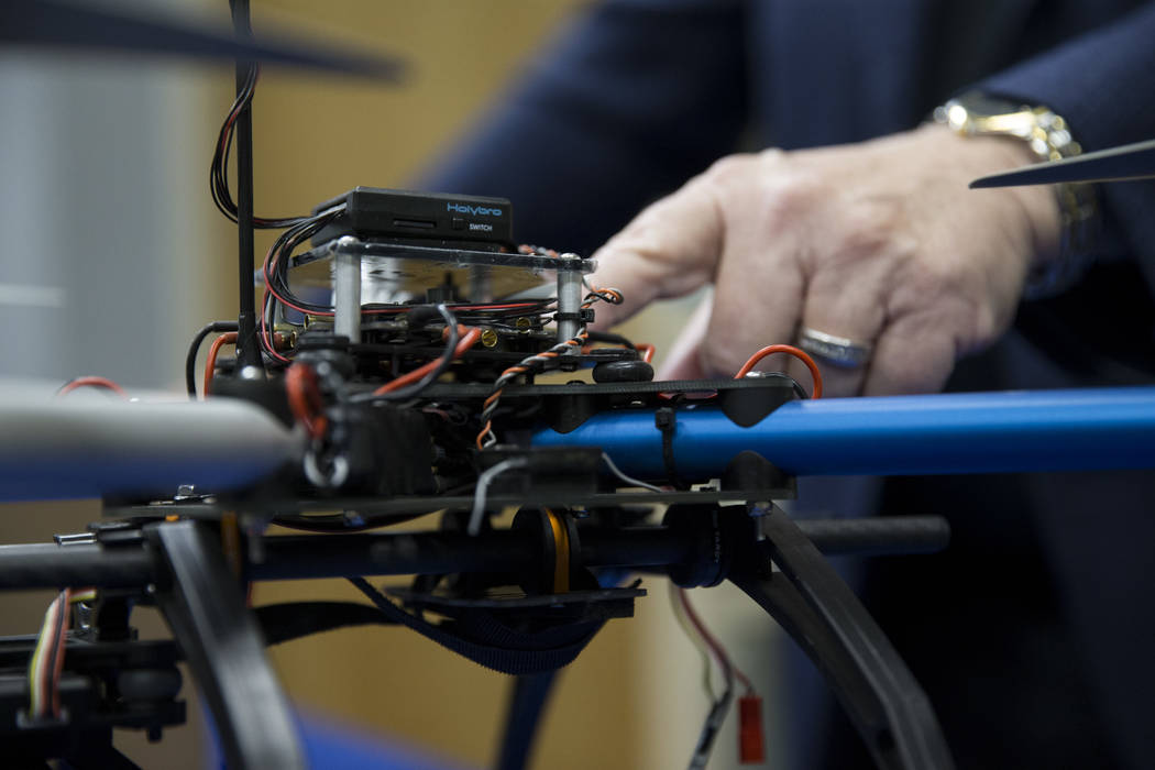 A drone inside a classroom which will teach Nevada's first academic program focused on unmanned aircraft systems at the College of Southern Nevada, Cheyenne Campus on Tuesday, June 6, 2017  ...