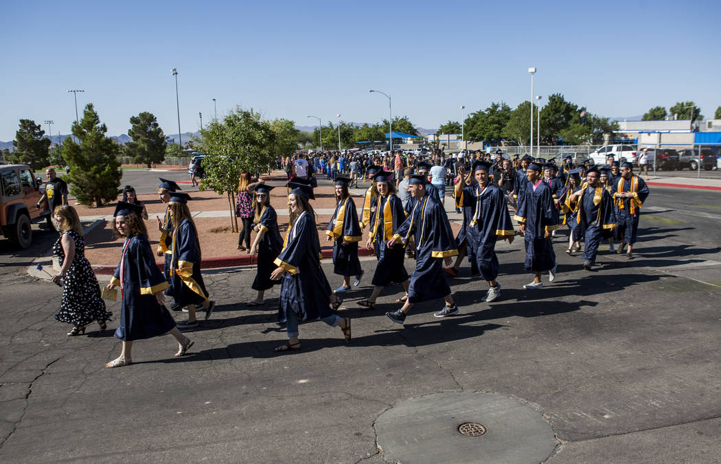 Boulder City High School seniors walk in an annual Grad Walk to celebrate the seniors' accomplishments and encourage young students to finish high school on Monday, June 5, 2017. Patrick Connolly  ...