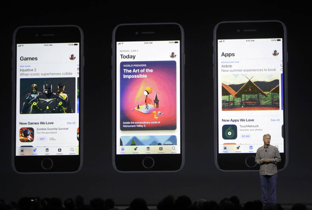 Phil Schiller, Apple's senior vice president of worldwide marketing, speaks during an announcement of new products at the Apple Worldwide Developers Conference in San Jose, Calif., Monday, June 5, ...