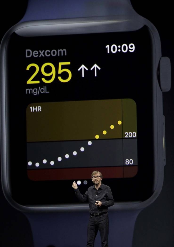 Apple's Kevin Lynch speaks about the Apple Watch during an announcement of new products at the Apple Worldwide Developers Conference in San Jose, Calif., Monday, June 5, 2017. (AP Photo/Marcio Jos ...