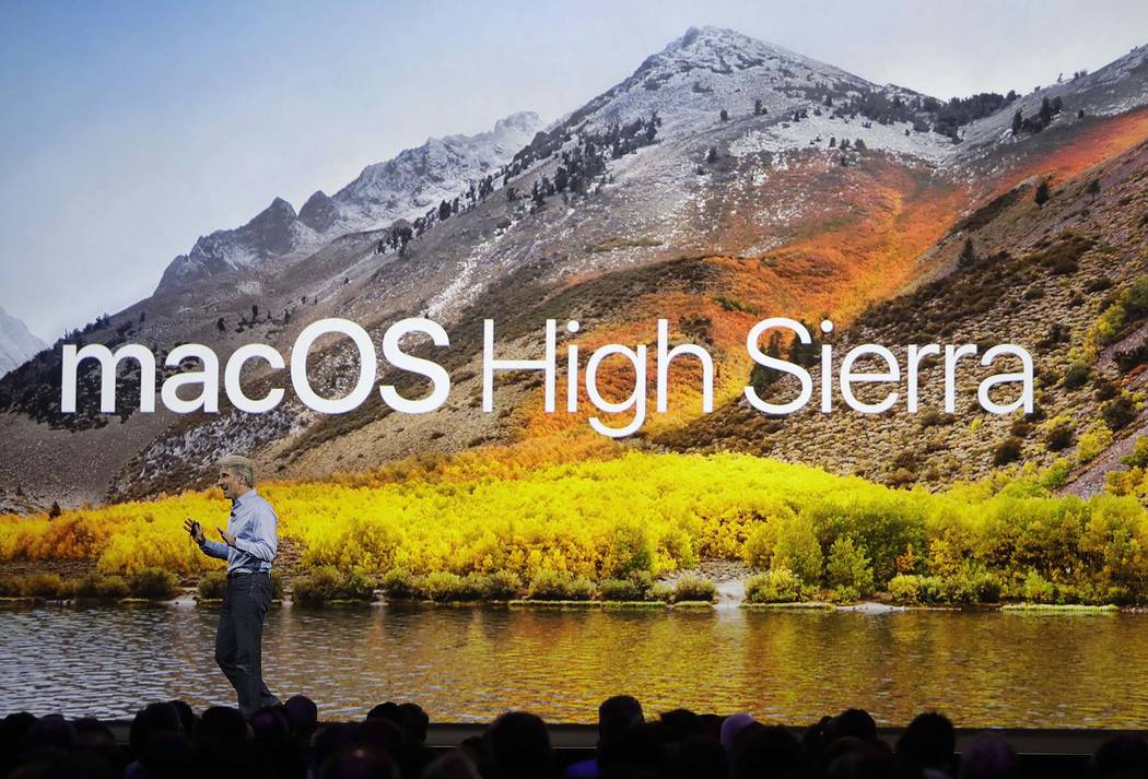 Craig Federighi, Apple's senior vice president of software engineering, speaks about High Sierra operating software during an announcement of new products at the Apple Worldwide Developers Confere ...