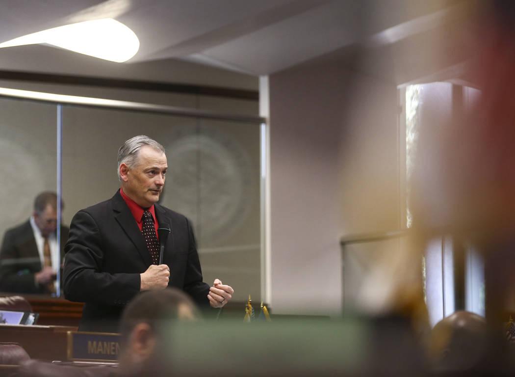 Sen. James Settelmeyer, R-Minden, during the last day of the Nevada Legislature at the Legislative Building in Carson City on Monday, June 5, 2017. (Chase Stevens Las Vegas Review-Journal) @csstev ...