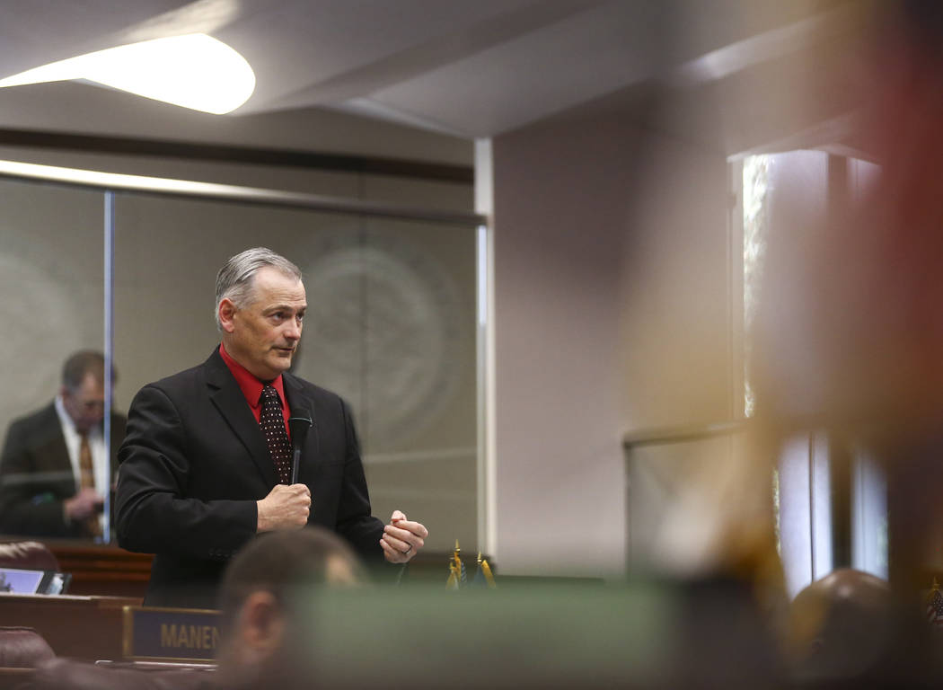 Sen. James Settelmeyer, R-Minden, during the last day of the Nevada Legislature at the Legislative Building in Carson City on Monday, June 5, 2017. (Chase Stevens Las Vegas Review-Journal) @csstev ...