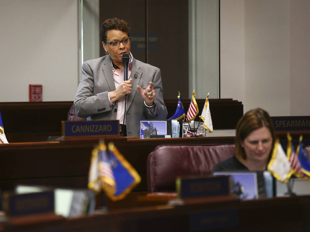 Sen. Pat Spearman, D-North Las Vegas, during the last day of the Nevada Legislature at the Legislative Building in Carson City on Monday, June 5, 2017. Chase Stevens Las Vegas Review-Journal @csst ...