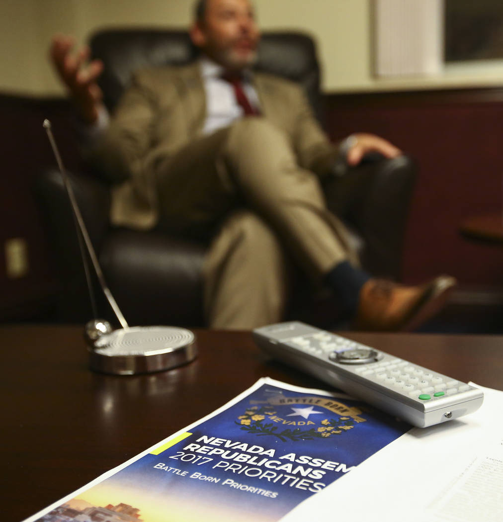 Assembly Minority Floor Leader Paul Anderson, R-Las Vegas, at his office in the Legislative Building in Carson City during the early hours of Monday, June 5, 2017. Chase Stevens Las Vegas Review-J ...