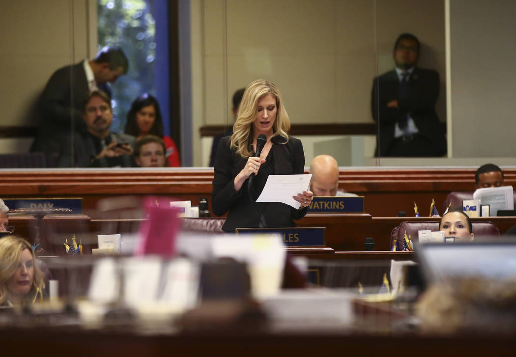 Assemblywoman Jill Tolles, R-Reno, during the last day of the Nevada Legislature at the Legislative Building in Carson City on Monday, June 5, 2017. Chase Stevens Las Vegas Review-Journal @cssteve ...