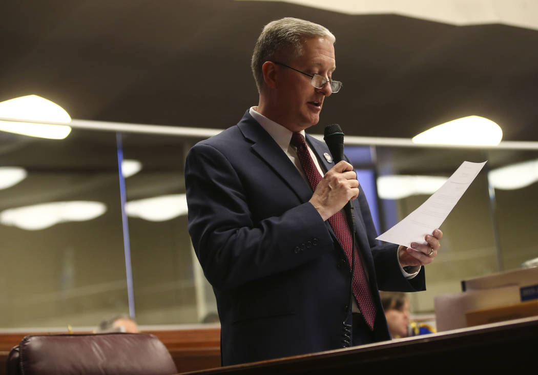 Assemblyman Keith Pickard, R-Henderson, during the last day of the Nevada Legislature at the Legislative Building in Carson City on Monday, June 5, 2017. Chase Stevens Las Vegas Review-Journal @cs ...