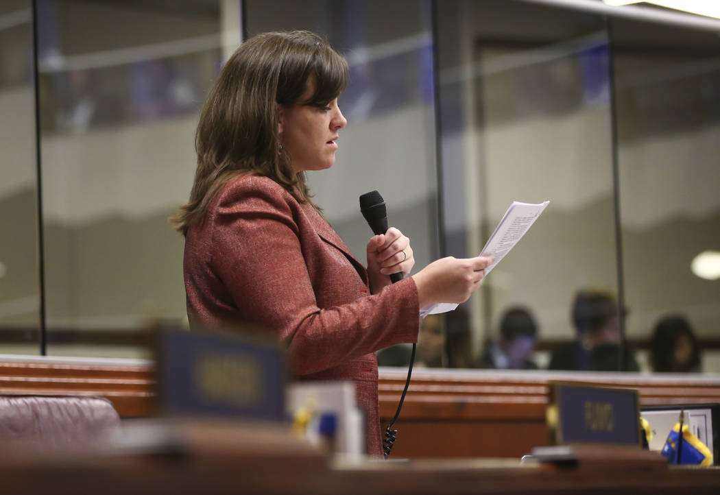 Assemblywoman Amber Joiner, D-Reno, during the last day of the Nevada Legislature at the Legislative Building in Carson City on Monday, June 5, 2017. Chase Stevens Las Vegas Review-Journal @csstev ...