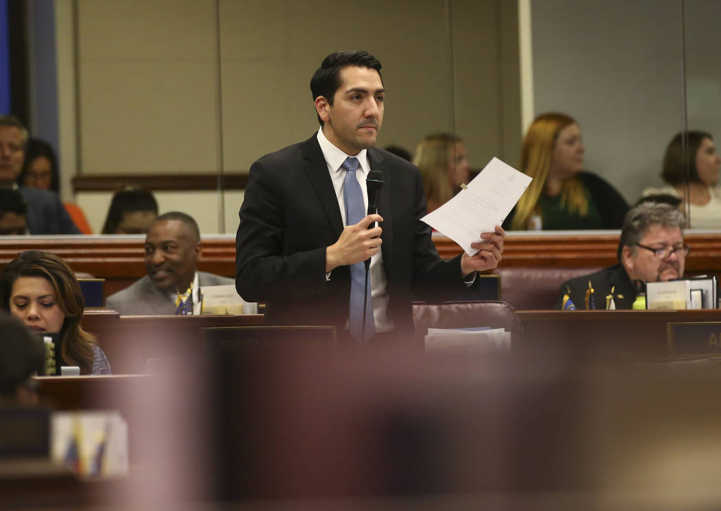 Assemblyman Nelson Araujo, D-Las Vegas, during the last day of the Nevada Legislature at the Legislative Building in Carson City on Monday, June 5, 2017. Chase Stevens Las Vegas Review-Journal @cs ...