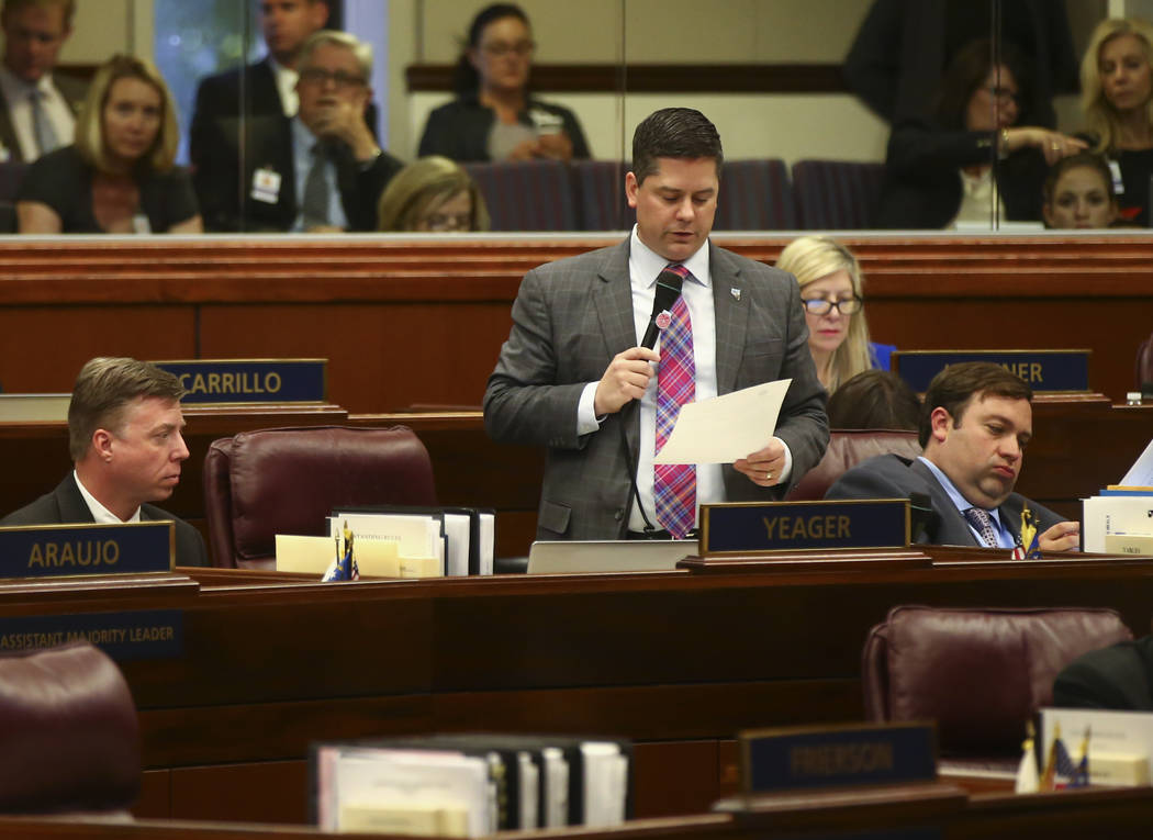 Assemblyman Steve Yeager, D-Las Vegas, during the last day of the Nevada Legislature at the Legislative Building in Carson City on Monday, June 5, 2017. Chase Stevens Las Vegas Review-Journal @css ...