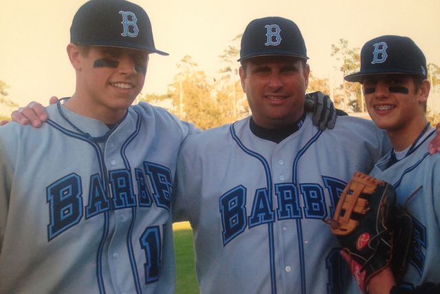 A Cecchini family portrait with, from left, Garin, left, father Glenn and Gavin during the boys' high school baseball days. (Courtesy/Raissa Cecchini)