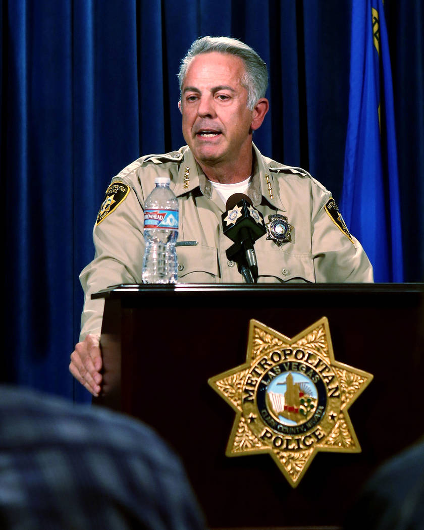 Clark County Sheriff Joe Lombardo announces at the Las Vegas Police headquarters  that officer Kenneth Lopera will be prosecuted for the in-custody death of Tashii Brown, Monday, June 5, 2017.  El ...