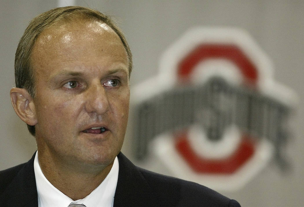 FILE - In this July 9, 2004, file photo, Thad Matta answers questions during a news conference announcing him as Ohio State's new basketball coach, in Columbus, Ohio. Matta is out as coach of Ohio ...