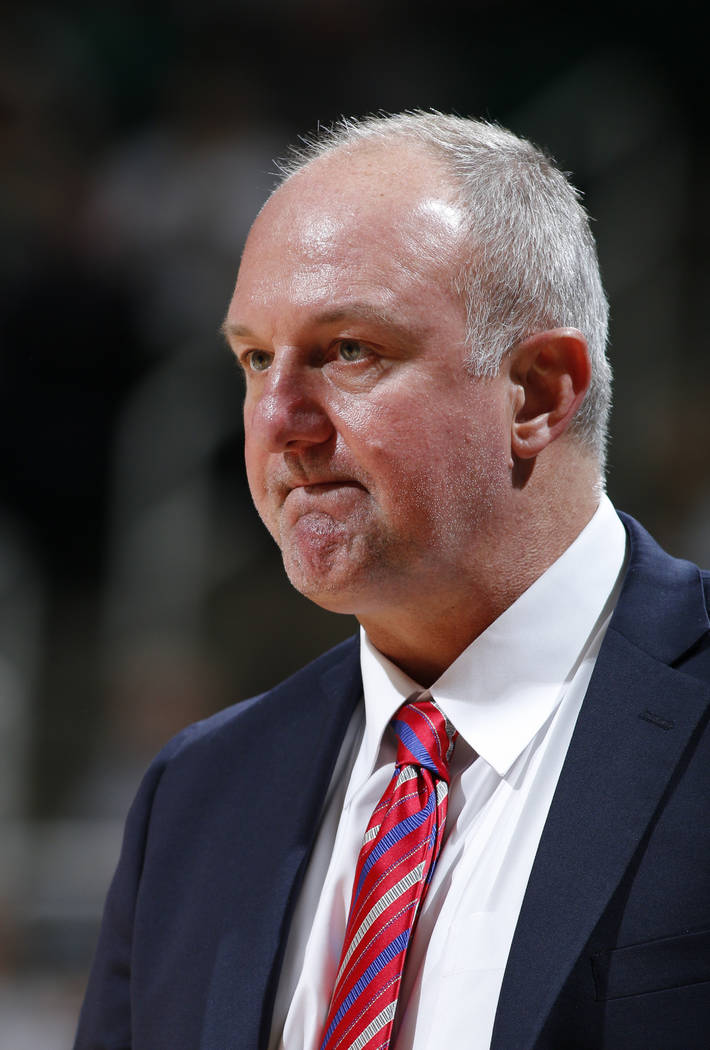 FILE - In this Feb. 14, 2017, file photo, Ohio State coach Thad Matta reacts during the first half of an NCAA college basketball game against Michigan State, in East Lansing, Mich. Matta is out as ...