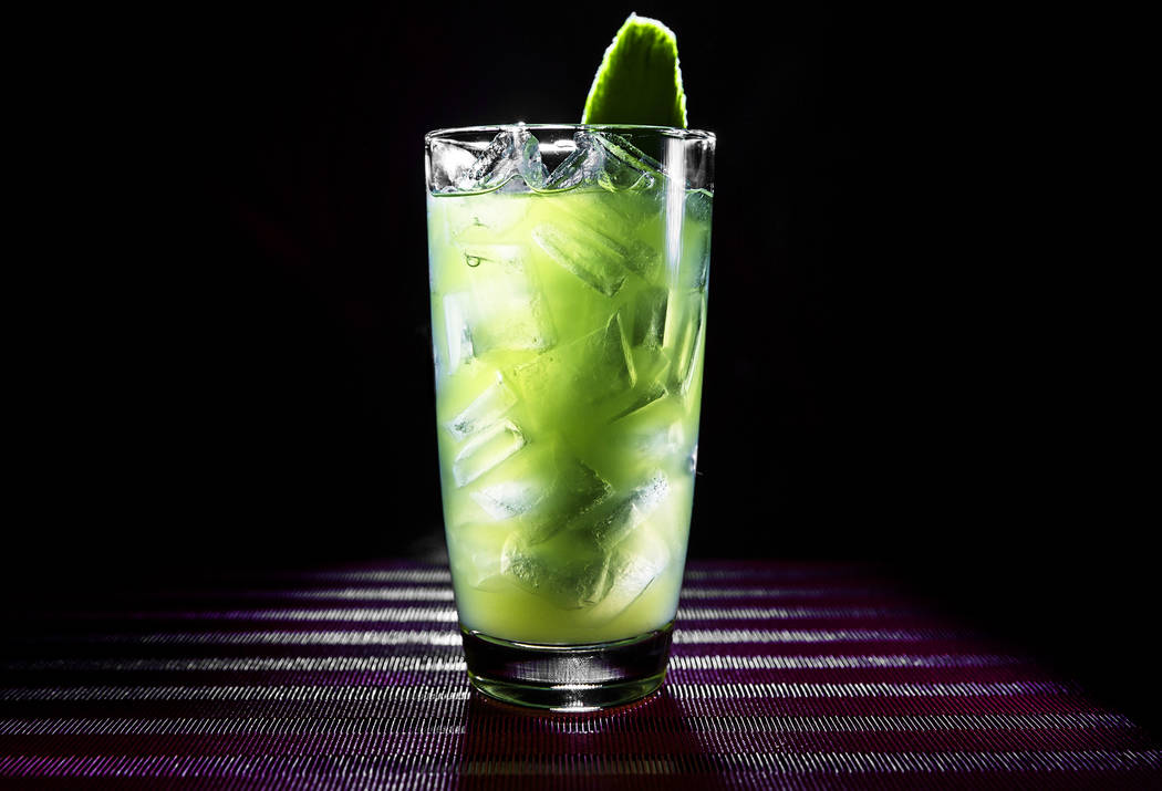 The Jaded Midori, with Midori melon liqueur, Tyku cucumber sake, sweet and sour, simple syrup, a cucumber stick and lime wheel on Wednesday, May 31, 2017, at Benihana, at Westgate hotel-casino, in ...