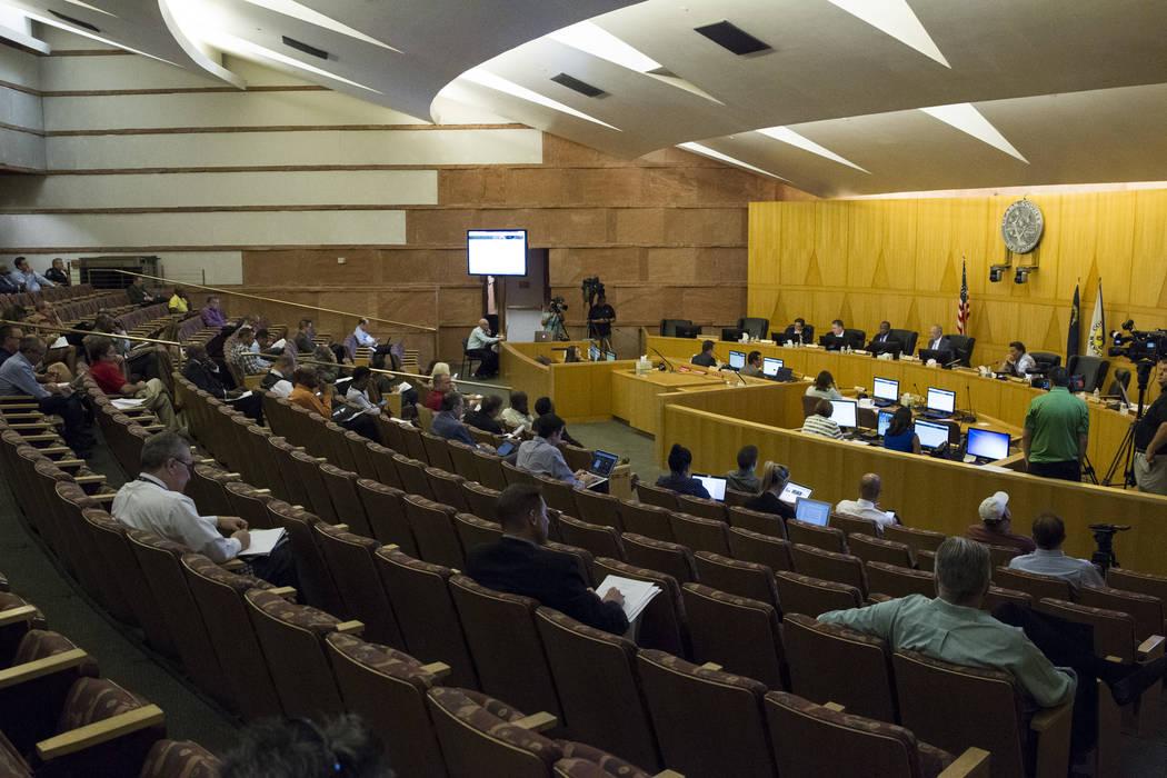 A Las Vegas Stadium Authority board meeting at the Clark County Government Center on Thursday, June 8, 2017 in Las Vegas. Erik Verduzco/Las Vegas Review-Journal