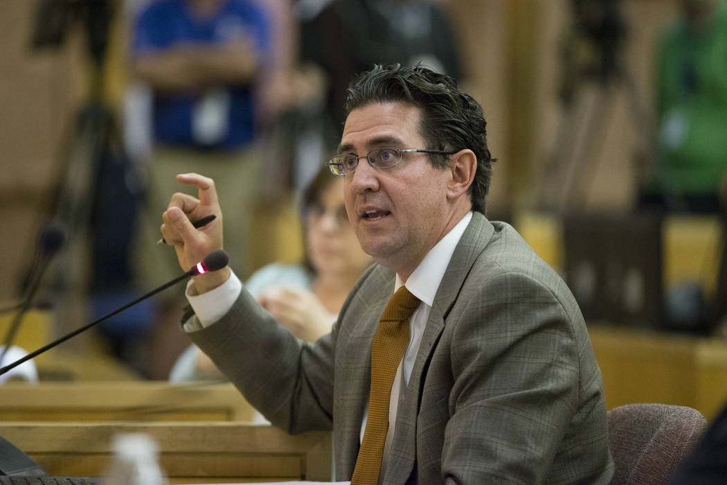 Jeremy Aguero, a principal analyst with Applied Analysis, during a Las Vegas Stadium Authority Board meeting at the Clark County Government Center on Thursday, June 8, 2017 in Las Vegas. Erik Verd ...