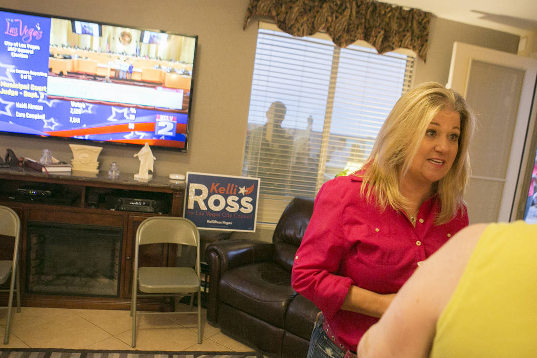 Las Vegas Ward 6 city council candidate Kelli Ross entertains family, friends and campaign workers during a watch party at her home on Tuesday, June 13, 2017 in Las Vegas. Bridget Bennett Las Vega ...