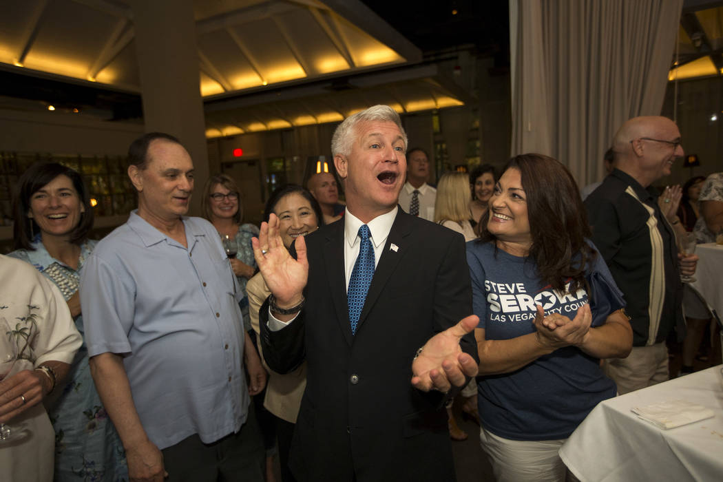 Las Vegas city council candidate Col. Steve Seroka reacts to incoming votes during his election result party at Andiron Steak and Sea in Las Vegas on Tuesday, June 13, 2017. Richard Brian Las Vega ...