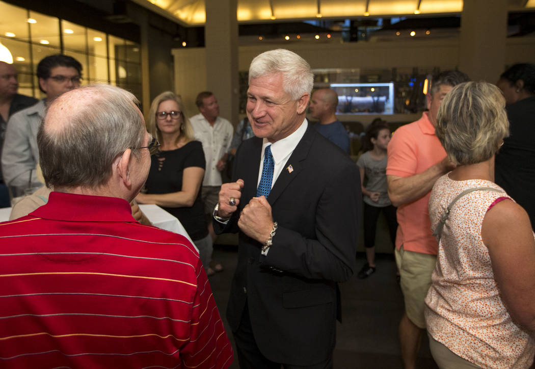 Las Vegas city council candidate Col. Steve Seroka is greeted by guest attending his election result party at Andiron Steak and Sea in Las Vegas on Tuesday, June 13, 2017. Richard Brian Las Vegas  ...