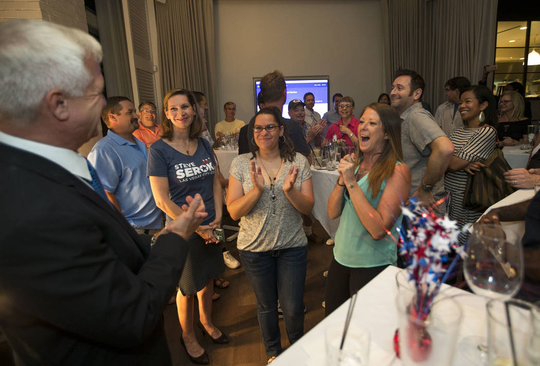 Las Vegas city council candidate Col. Steve Seroka is applauded by guest as he prepares to give a speech during his election result party at Andiron Steak and Sea in Las Vegas on Tuesday, June 13, ...