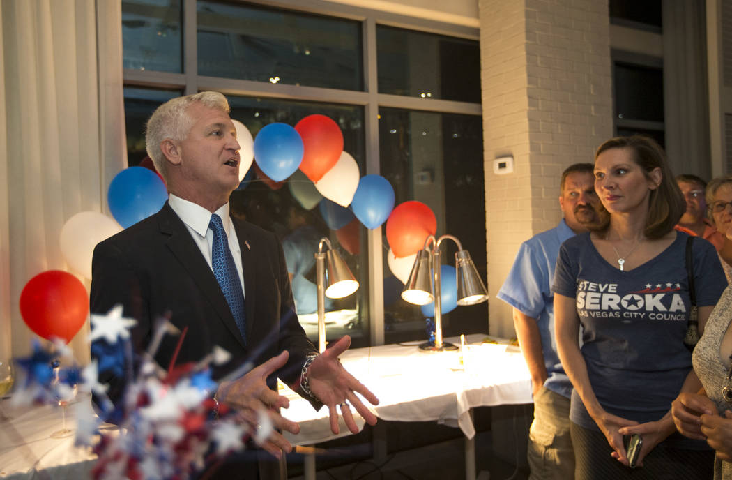 Las Vegas city council candidate Col. Steve Seroka speaks to guest during his election result party at Andiron Steak and Sea in Las Vegas on Tuesday, June 13, 2017. Richard Brian Las Vegas Review- ...