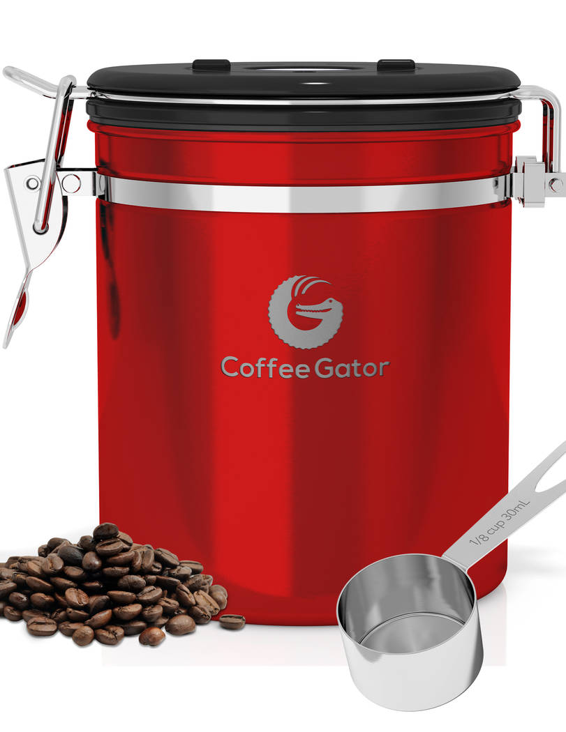Stainless-steel canisters help protect coffee. Coffee Gator
