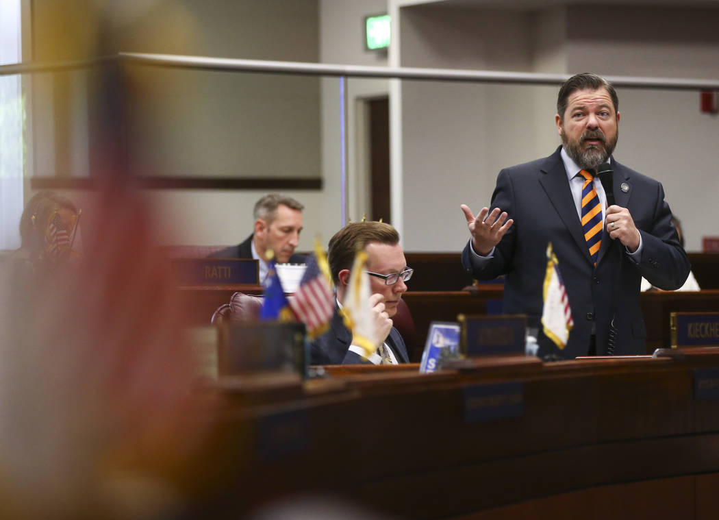 Senate Minority Leader Michael Roberson, R-Henderson, during the last day of the Nevada Legislature at the Legislative Building in Carson City on Monday, June 5, 2017. Chase Stevens Las Vegas Revi ...