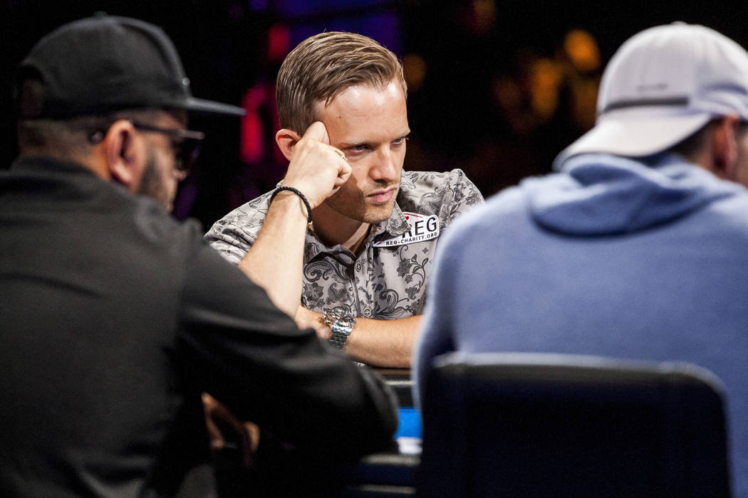 Martin Jacobson competes in the $111,111 buy-in High Roller for One Drop No-Limit Hold'em event at the World Series of Poker at the Rio Convention Center on Monday, June 5, 2017. Patrick Connolly  ...