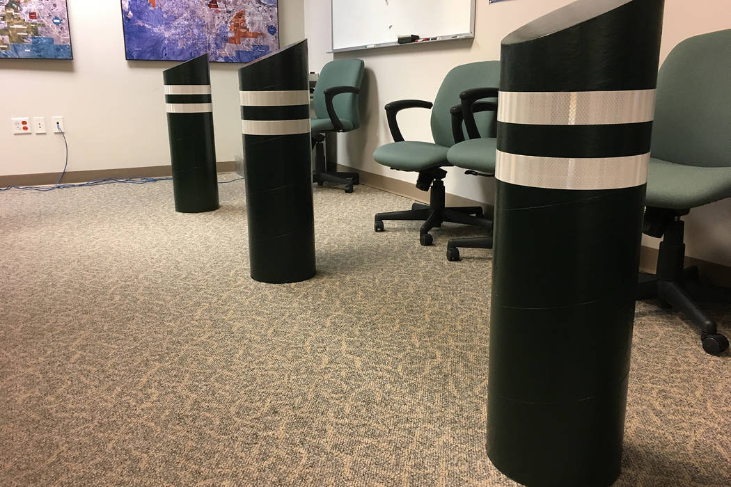Cardboard replica bollards inside the Clark County Government Center. County commissioners will discuss Tuesday whether to install the real steel posts along the Las Vegas Strip. (Michael Scott Da ...