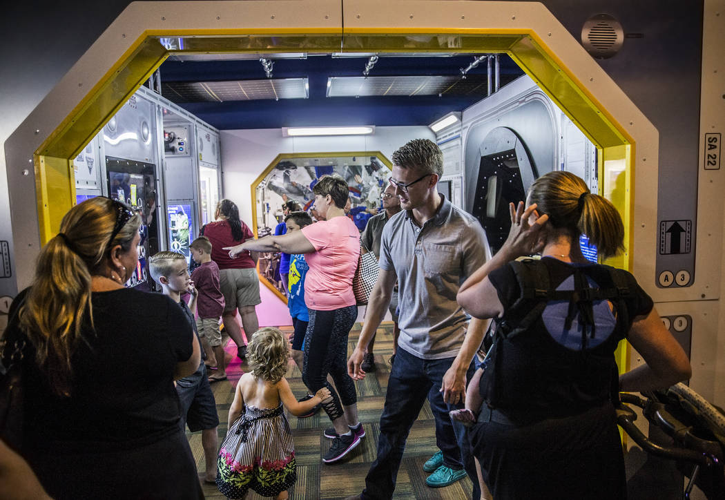 "Springs Preserve's members enjoy an exclusive first look at the new ""Astronaut"" exhibit on Sunday, June 11, 2017, in Las Vegas. Benjamin Hager Las Vegas Review-Journal @benjaminh ..."