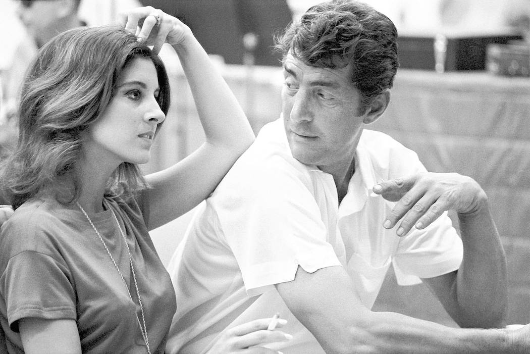 Young Deana Martin with her dad, Dean Martin, during a recording session in 1966. (Ed Thrasher)