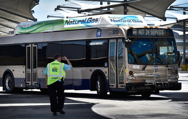 A natural gas powered RTC bus is seen a at a service facility in Las Vegas on Monday, June 22, 2015. (David Becker/Las Vegas Review-Journal)
