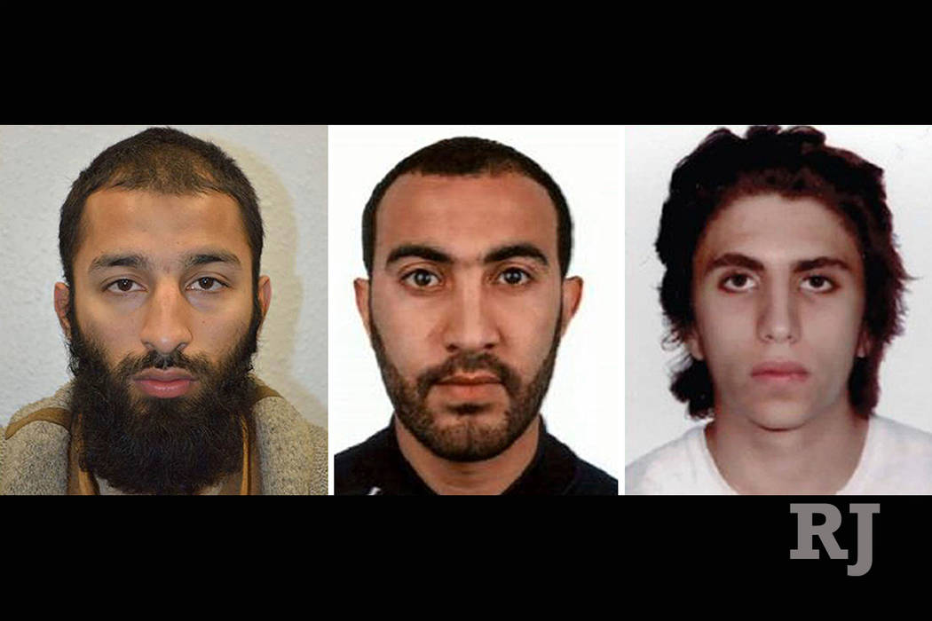 This is undated three photo combo handout photo issued by the Metropolitan Police  on Tuesday June 6, 2017 of Khuram Shazad Butt, left, Rachid Redouane, centre  and Youssef Zaghba who have been na ...