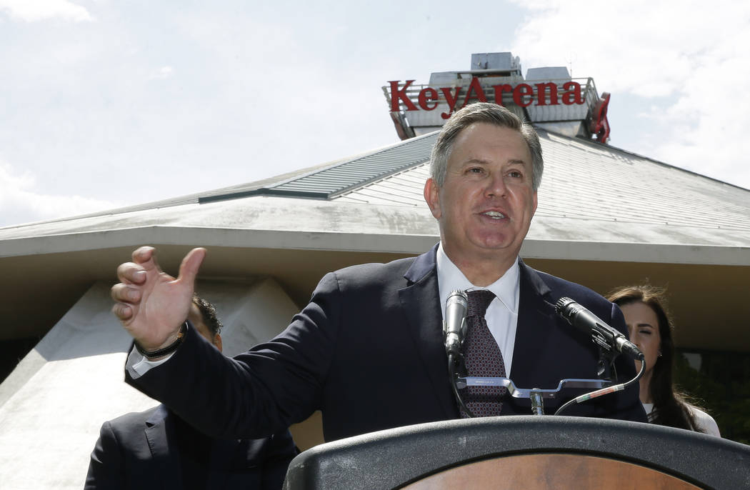 Tim Leiweke, CEO of the Oak View Group, speaks in front of KeyArena during a news conference, Wednesday, June 7, 2017, in Seattle. Seattle Mayor Ed Murray said Wednesday that the city will enter i ...