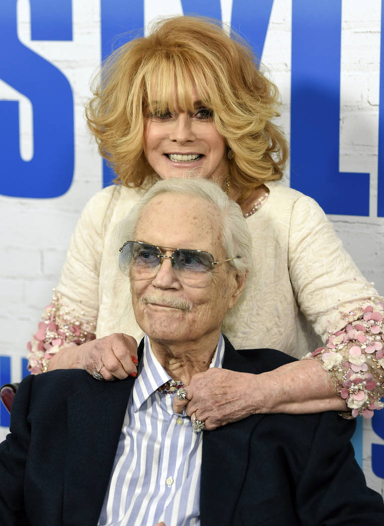 "Actress Ann-Margret and her husband, Roger Smith, appear at the world premiere of ""Going in Style"" in New York, March 30, 2017. Smith, star of the ""77 Sunset Strip,"" died at a Los Angeles hosp ..."