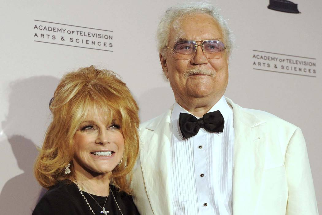 "Actress Ann-Margret poses with her husband, Roger Smith, at the Creative Arts Emmy Awards in Los Angeles, Aug. 21, 2010. Smith, star of the ""77 Sunset Strip,"" died at a Los Angeles hospital on ..."
