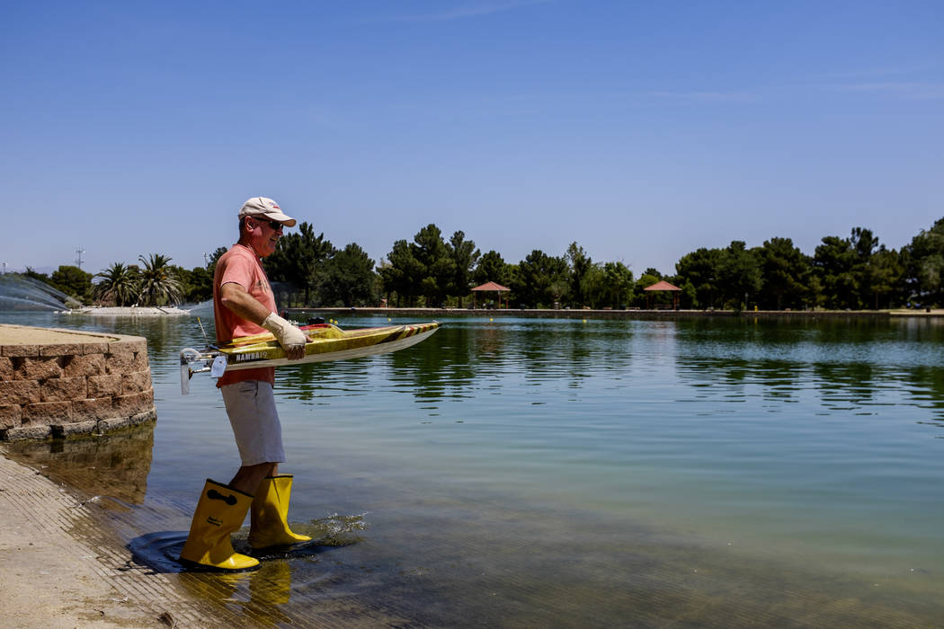 Mark Ferreira takes his radio-controlled boat to the water at Sunset Park on Tuesday, June 6, 2017. Ferreira has raced RC boats for 25 years and won a national championship in 1998. (Patrick Conno ...