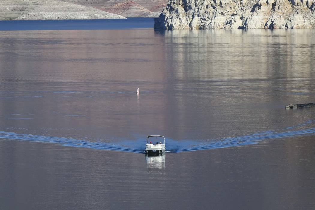 A boat on the lake at Lake Mead National Recreation Area. (Chase Stevens/Las Vegas Review-Journal) @csstevensphoto