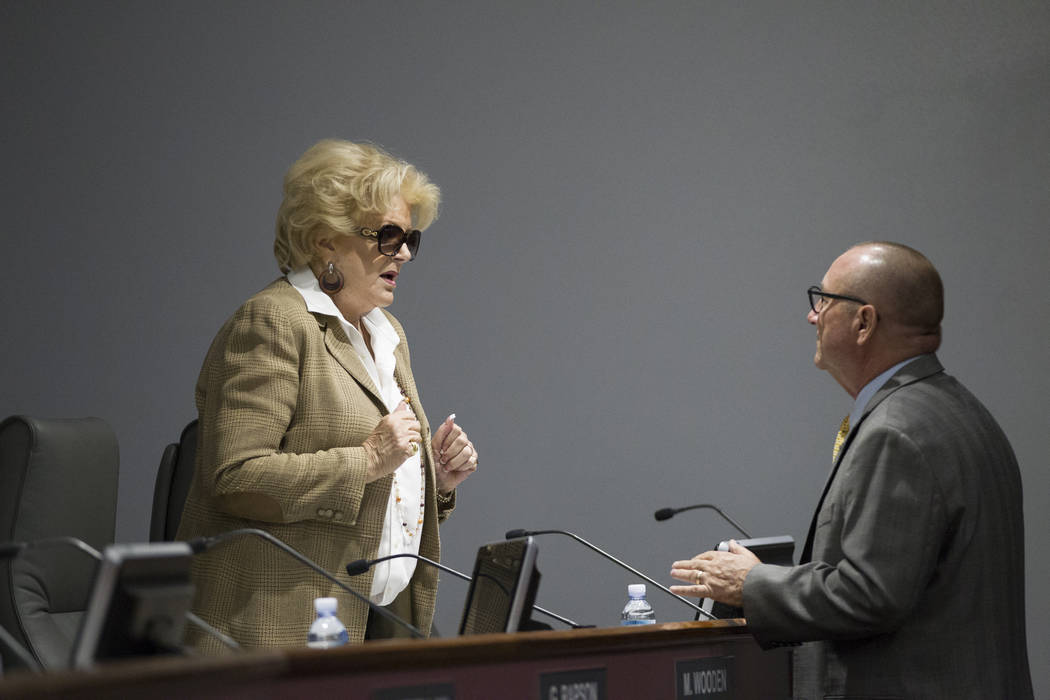 Las Vegas Mayor Carolyn Goodman, left, speaks with Las Vegas Convention and Visitors Authority CEO Rossi Ralenkotter at a board meeting on Tuesday, June 13, 2017 in Las Vegas. Erik Verduzco/Las Ve ...