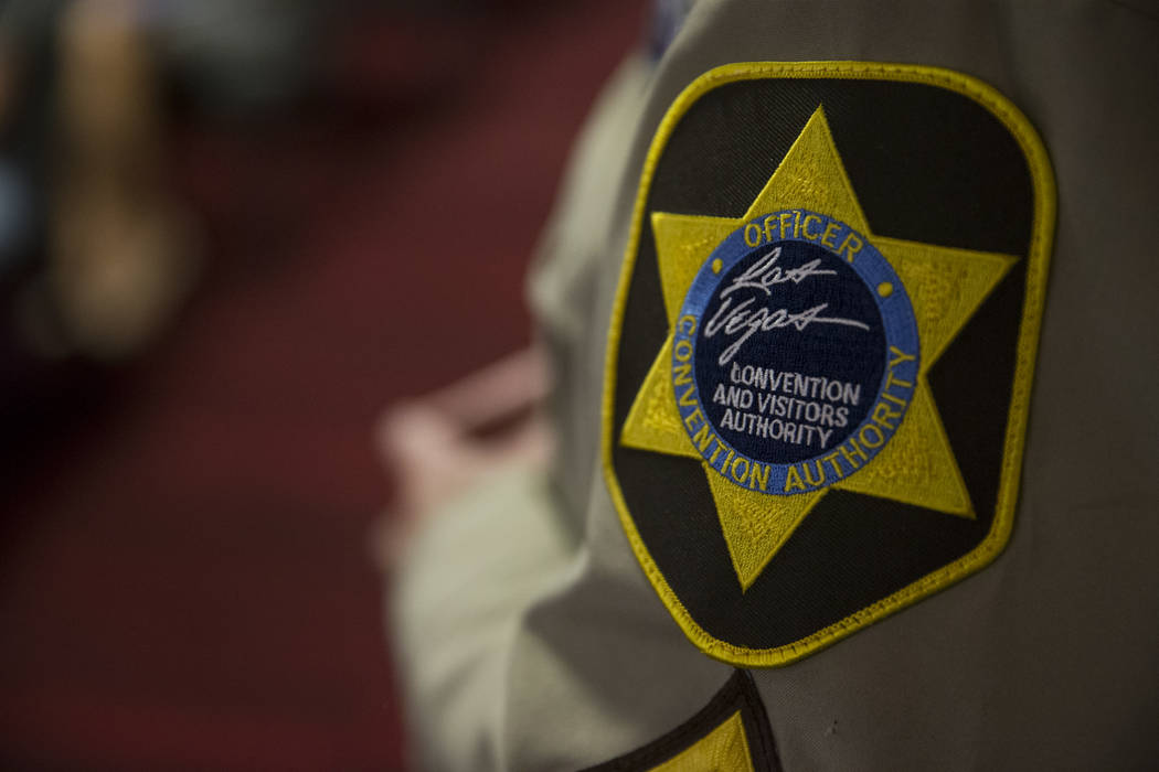 An official patch on the shoulder of security officer watching a Las Vegas Convention and Visitors Authority board meeting on Tuesday, June 13, 2017 in Las Vegas. Erik Verduzco/Las Vegas Review-Jo ...