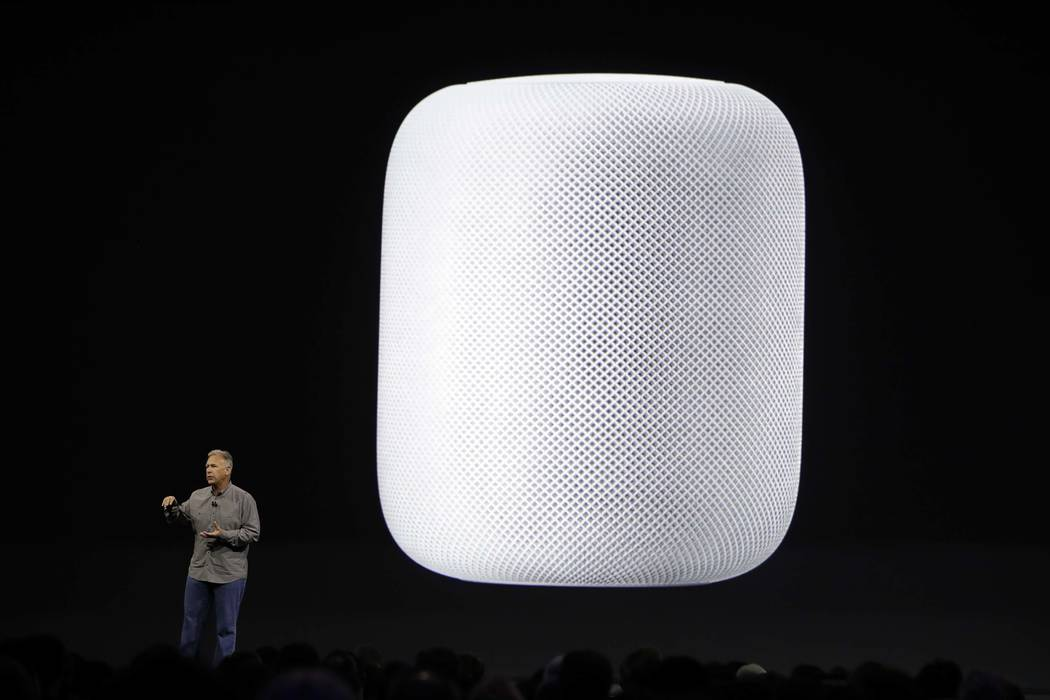 Phil Schiller, Apple's Senior Vice President of Worldwide Marketing, introduces the HomePod speaker at the Apple Worldwide Developers Conference Monday, June 5, 2017, in San Jose , Calif. (AP Phot ...