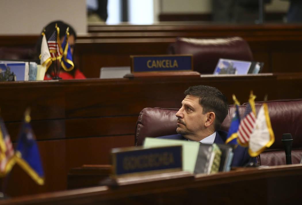 Sen. Mark Manendo, D-Las Vegas, during the last day of the Nevada Legislature at the Legislative Building in Carson City on Monday, June 5, 2017. Chase Stevens Las Vegas Review-Journal @csstevensphoto